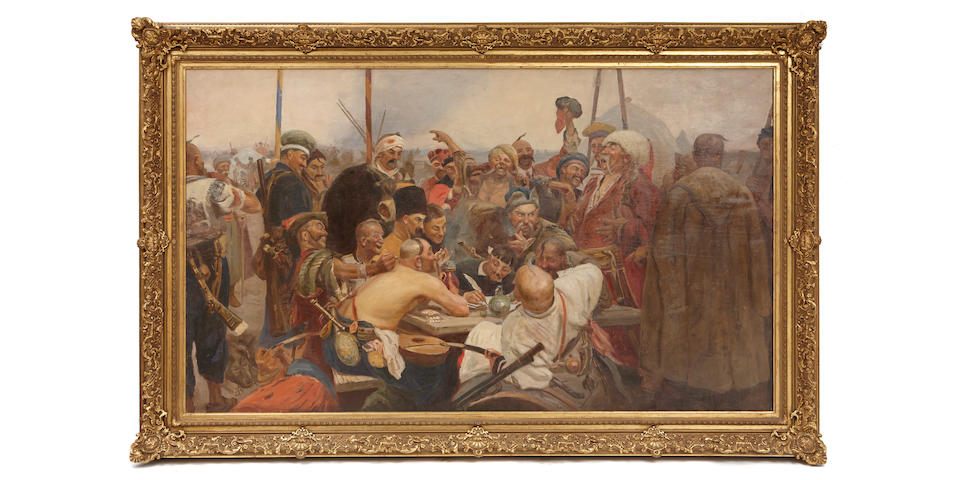 In the manner of Ilya Repin (1844-1930)Reply of the Zaporozhian Cossacks to Sultan Mehmed IV of the Ottoman Empire
