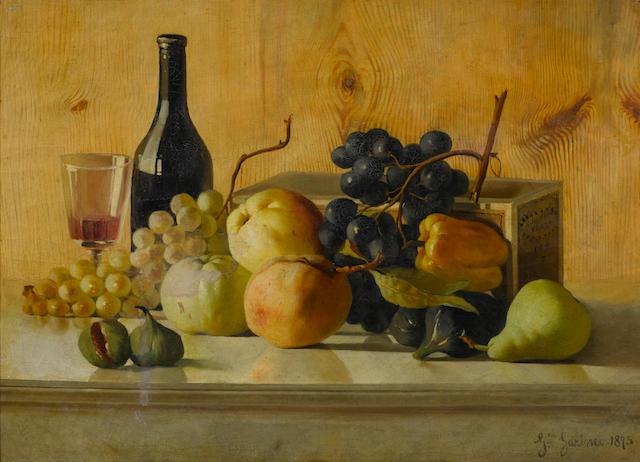 Giuseppe Garinei (Italian, born 1846) A still life with fruit and wine on a table 16 1/2 x 22in