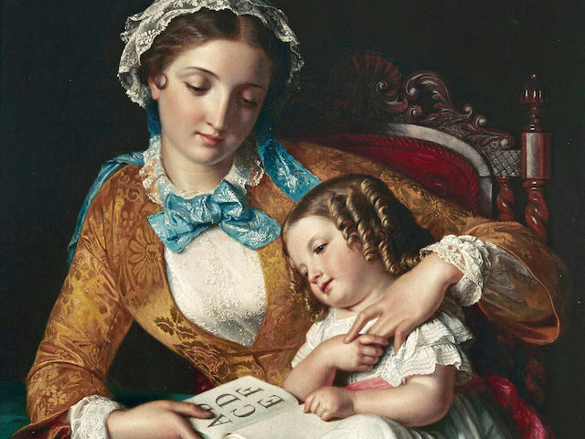 Samuel Baruch Halle (French, 1824-1889) The first lesson 38 1/2 x 29 1/2in (97.8 x 75cm)