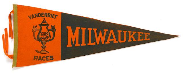 A 1912 Milwaukee Vanderbilt cup pennant, Length 28 ins.