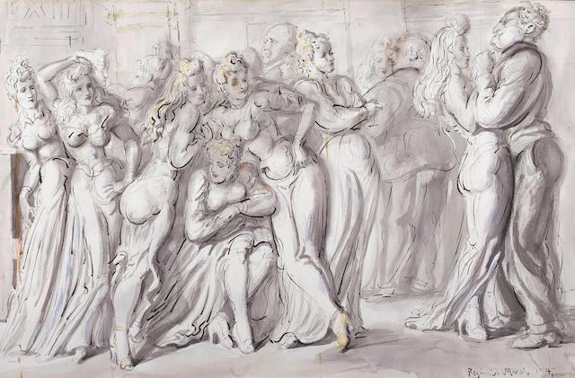 Reginald Marsh (American, 1898-1954) Dancing in the Round (The New Garden) 26 1/2 x 40in