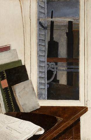 Raymond Mintz (American, born 1925) Artist's Studio 39 x 25in (Painted in 1951.)