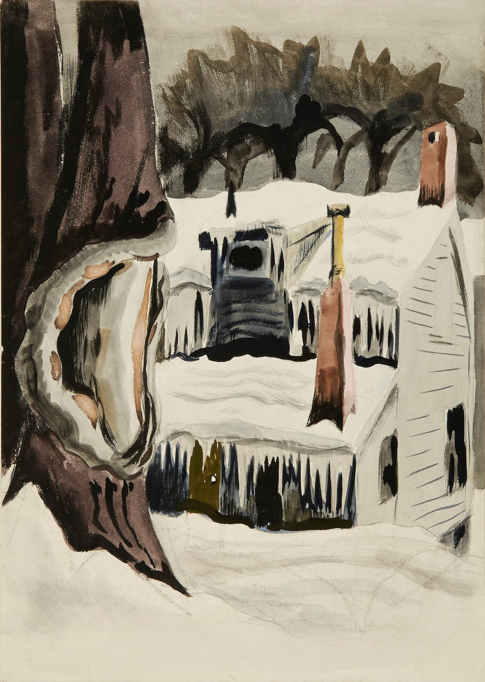 Charles Burchfield (American, 1893-1967) Snow Covered Cottage 14 x 10in, image; 20 x 15in, sheet
