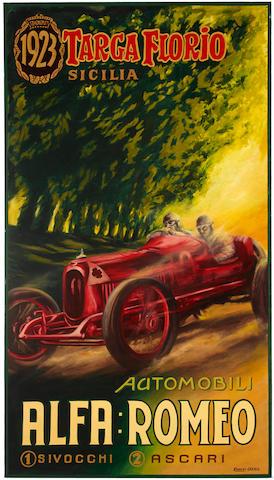 Robert Carter: Ascari Alfa, 44 x 78 ins.