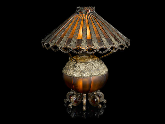 An early and rare Tiffany Studios Favrile glass and patinated bronze Moorish table lamp circa 1893