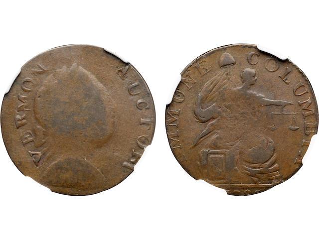 1785 Vermont Copper, Immune Columbia, VERMON AUCTORI Fine 12 NGC