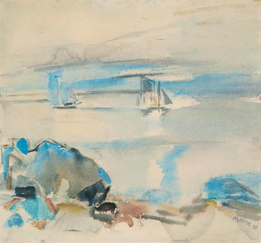 John Marin (American, 1870-1953) Untitled (Seascape) 14 x 15in
