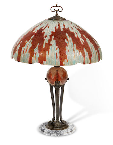 A Handel acid etched and painted glass, patinated metal and marble Lava table lamp  Model No. 7555, decorated by Joseph or Mary Palme, first quarter 20th century