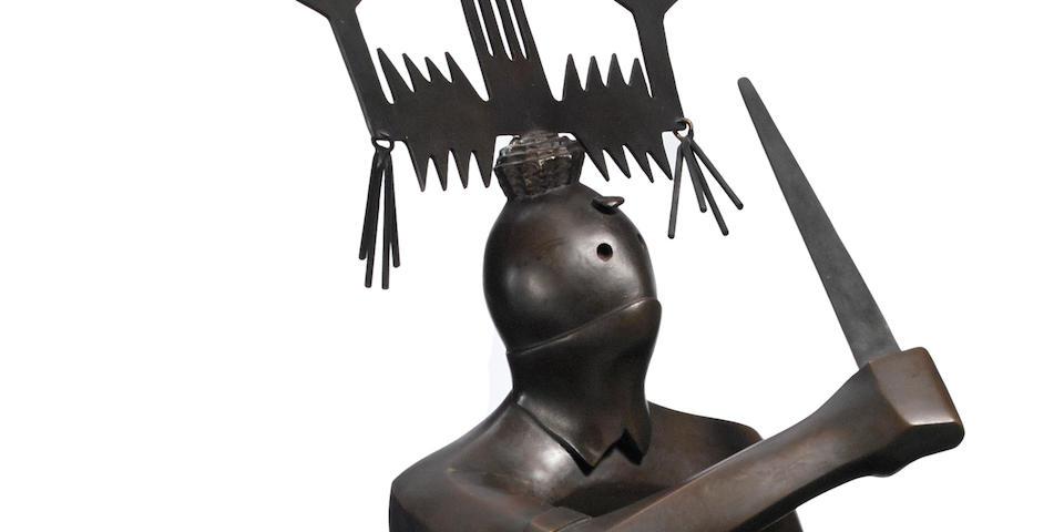 """An Allan Houser bronze sculpture, """"Abstract Crown Dancer"""""""