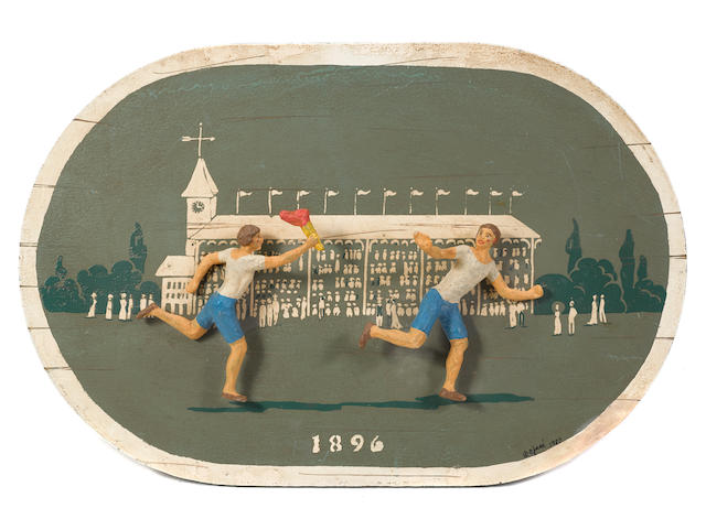 A mixed media oval plaque commemorating the 1896 Olympic Games