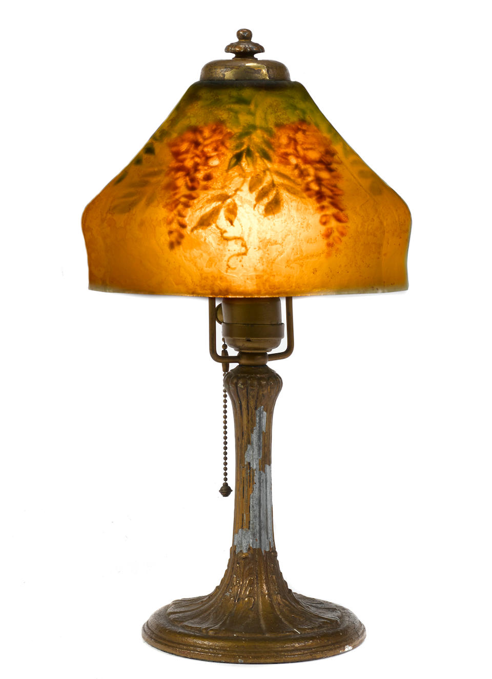 A Handel reverse painted glass and gilt metal Wisteria lamp circa 1920