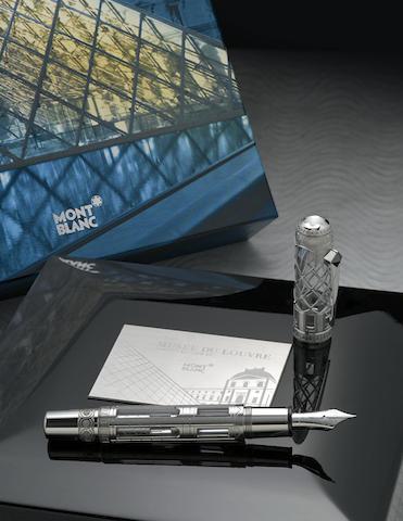 MONTBLANC: Musée du Louvre 18K Solid White Gold Skeleton Atelier Privés Limited Edition 89 Fountain Pen