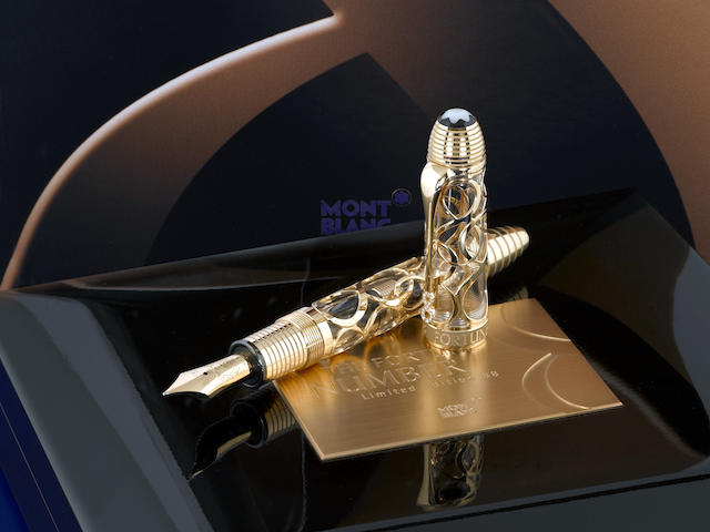 MONTBLANC: The Fortune Number 88 Solid 18K Gold Atelier Privés Limited Edition Skeleton Fountain Pen