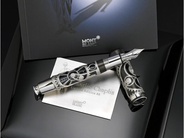 MONTBLANC: Charlie Chaplin 18K Gold Atelier Privés Limited Edition 88 Skeleton Fountain Pen