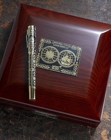 "MONTBLANC: Christopher Columbus ""Cristobol Colon"" 18K Solid Gold Toledo Atelier Privés Limited Edition 92 Fountain Pen"