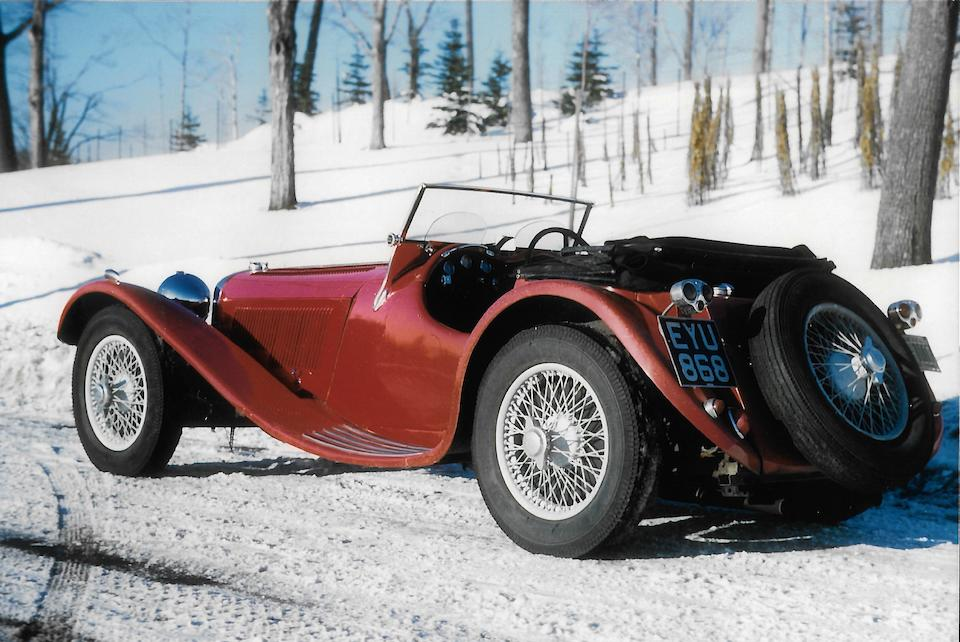 <b>1938 Jaguar SS100 2&#189; Liter Roadster  </b><br />Chassis no. 49049 <br />Engine no. T 9528 (see text)