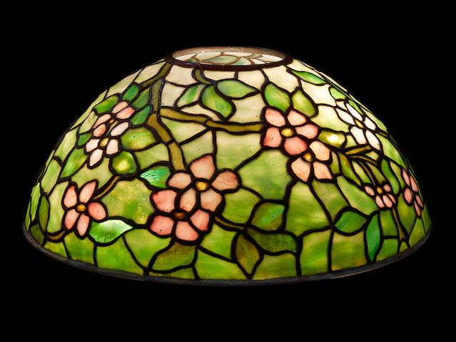 A Tiffany Studios leaded Favrile glass Apple Blossom lamp shade 1898-1928