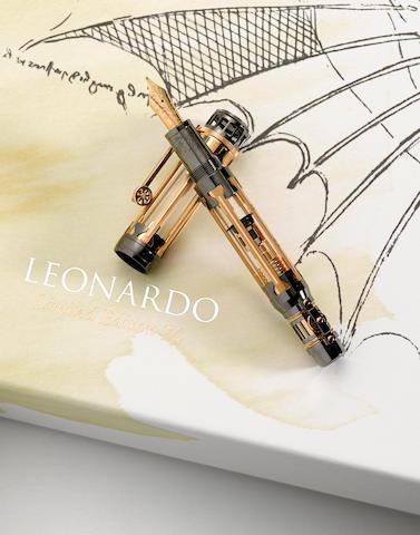 MONTBLANC: Leonardo da Vinci 18K Gold Atelier Privés Limited Edition 74 Skeleton Fountain Pen