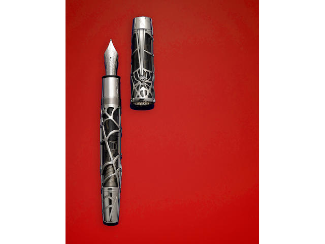 MONTBLANC: Magical Black Widow White Gold Limited Edition 88 Skeleton Fountain Pen