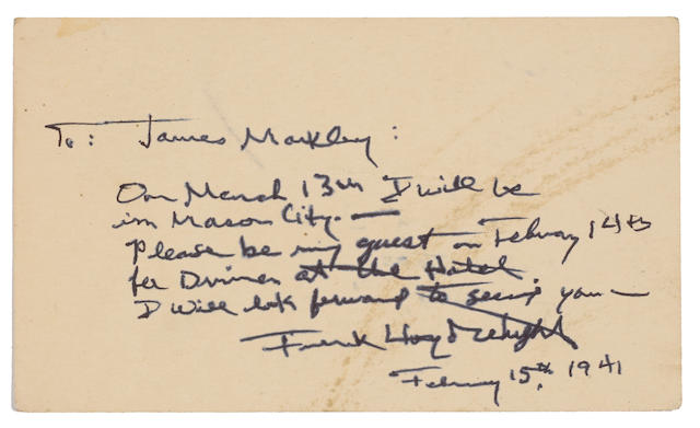 """WRIGHT, FRANK LLOYD. 1867-1959. Typed Letter Signed (""""Frank Lloyd Wright"""") and initialed (""""FLLW"""")"""