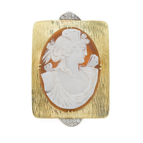 A diamond, shell cameo and 18k bicolor gold pendant-brooch