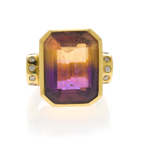 An ametrine and diamond ring,
