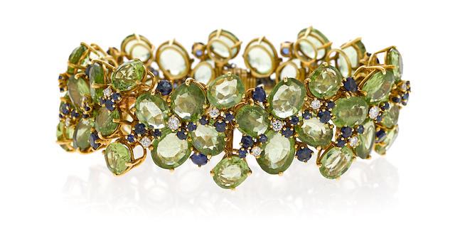 A peridot, sapphire and diamond bracelet