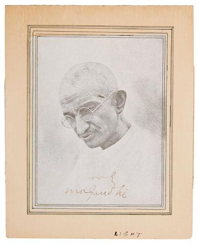 """GANDHI, MOHANDAS K. 1869-1948. Portrait Signed (""""M K Gandhi"""") and"""