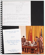 CARTER WHITE HOUSE. Album of official color and black-and-white White House press photographs, clippings, invitations, Christmas cards and photocopies compiled during the Carter Administration, 1977-1980.