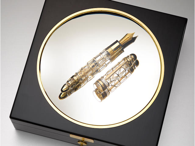 MONTBLANC: 75th Anniversary 18K Gold Skeleton Atelier Privés Limited Edition 75 Fountain Pen