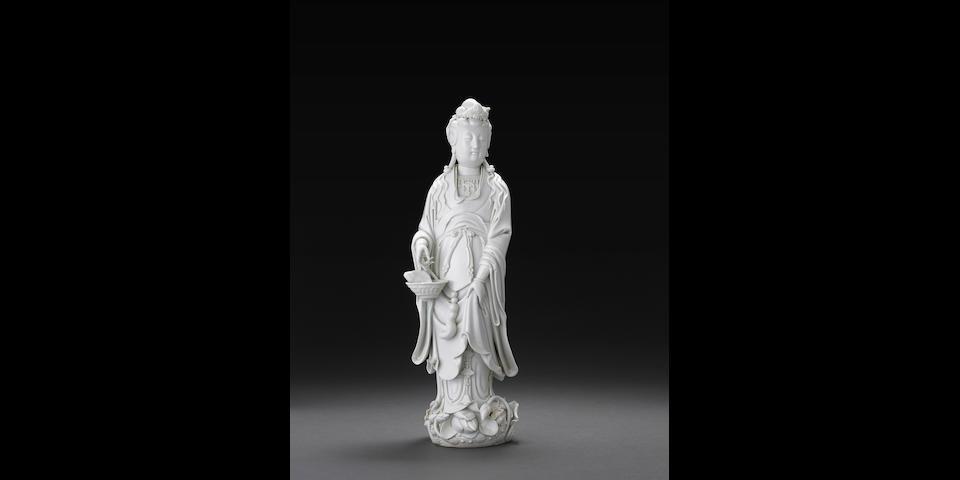 A large Dehua figure of Guanyin Fujian Dehua and Da Ming Wanli nianzhi seal marks, 19th century