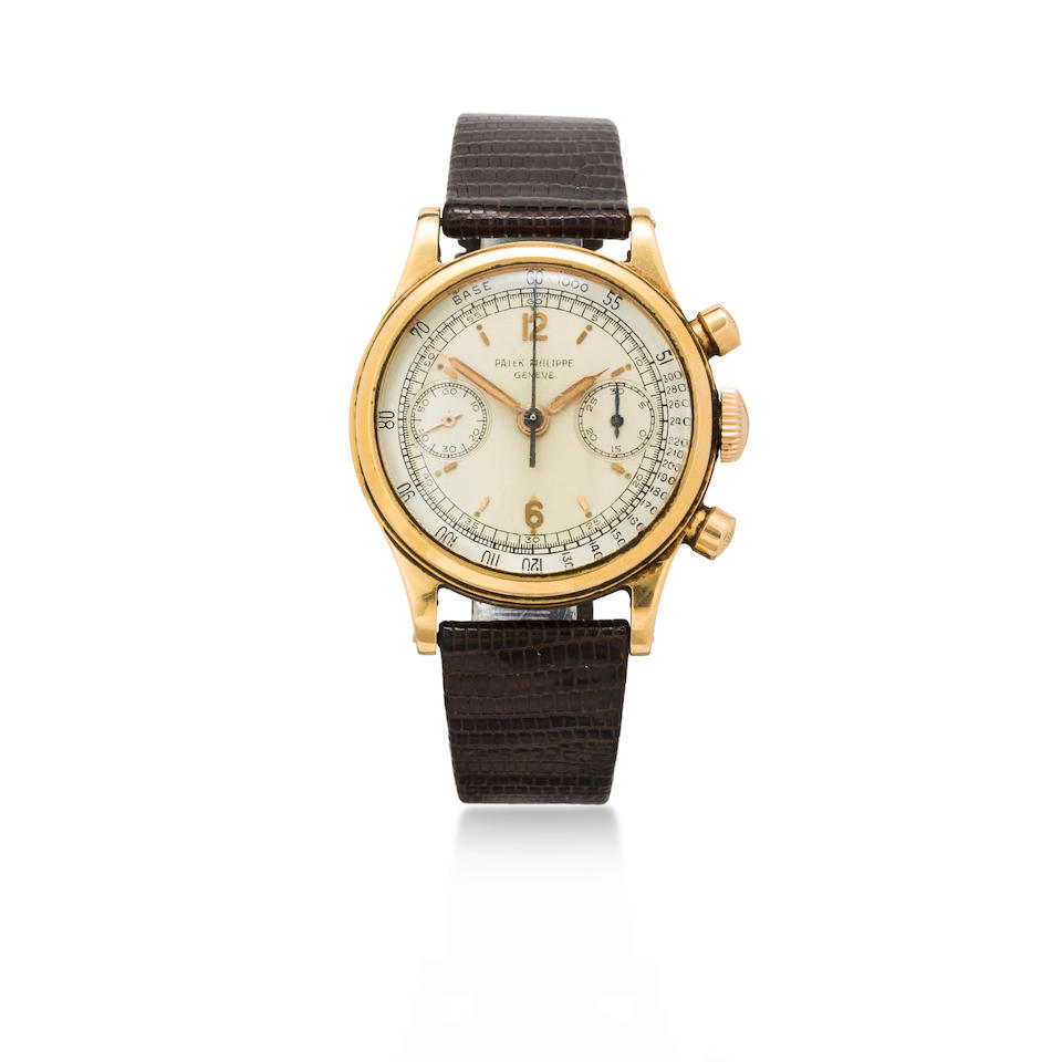 Patek Philippe. A rare and very fine 18K rose gold water resistant chronograph wristwatch with original guarantee certificate and boxRef:1463, Case no. 664960, Movement no. 868180 , sold 1952