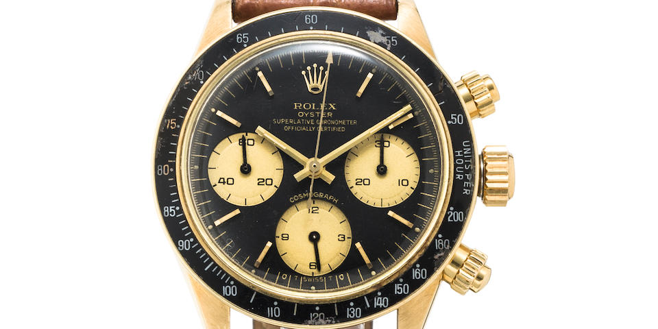 Rolex. A fine 18K gold chronograph wristwatchRef:6263, Oyster Cosmograph Daytona, Case no, 9323674, 1980's