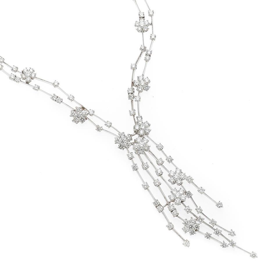 A diamond cascade necklace
