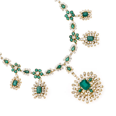 An emerald and diamond floral and cluster pendant necklace