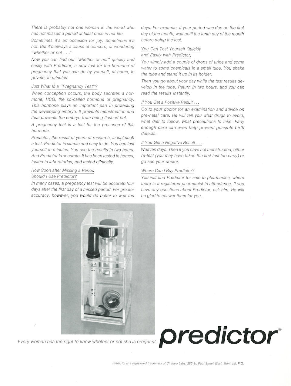 CRANE, MARGARET, INVENTOR—THE FIRST HOME PREGNANCY TEST. Original Predictor home pregnancy test prototype, 1968.