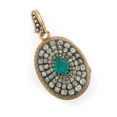 An antique emerald and diamond locket,