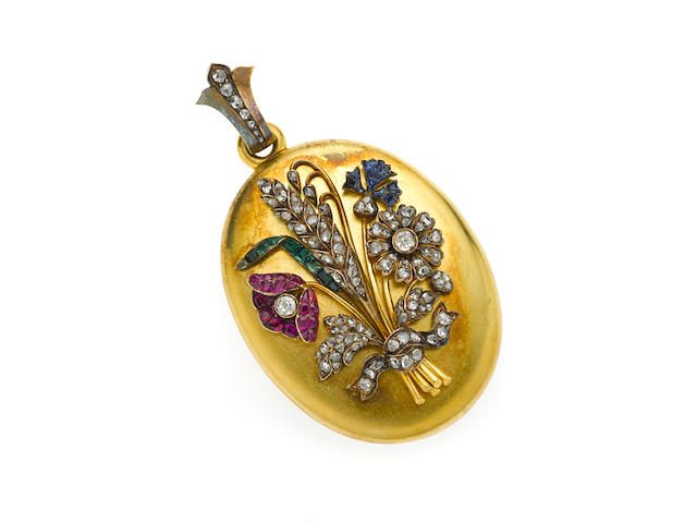 A ruby, sapphire, diamond and 18k gold floral bouquet locket,