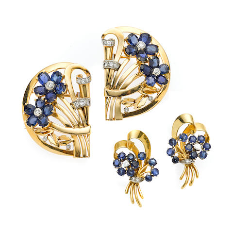A pair of of retro sapphire and diamond floral motif dress clips and screwback earrings,