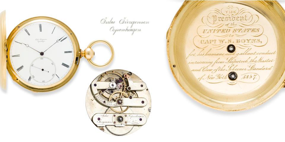 Jules Jurgensen, Copenhagen. A fine and rare 18K gold United States Presidential lifesaving presentation hunter cased pivoted detent chronometerNo. 8121, presented in 1857