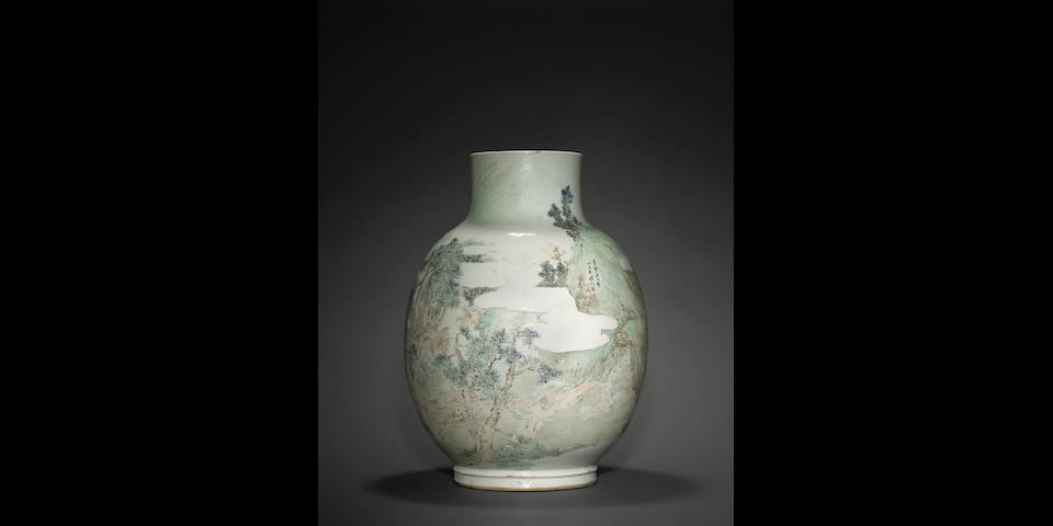 A massive qianjiangcai enameled 'Hundred Deer' vase Cheng Men (1833-1908), dated by inscription to 1877