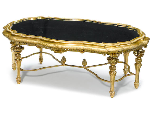 A fine quality French gilt bronze surtout de table on later stand late 19th century