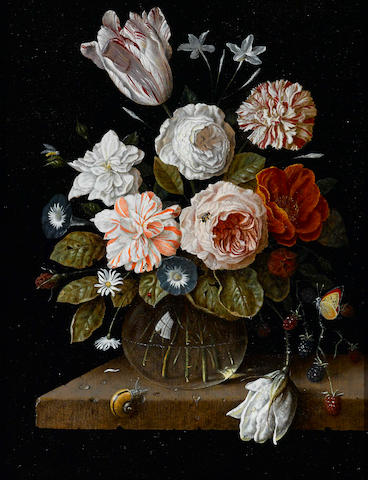 Dutch School, 20th Century A bouquet of mixed flowers in a glass vase 14 x 11in