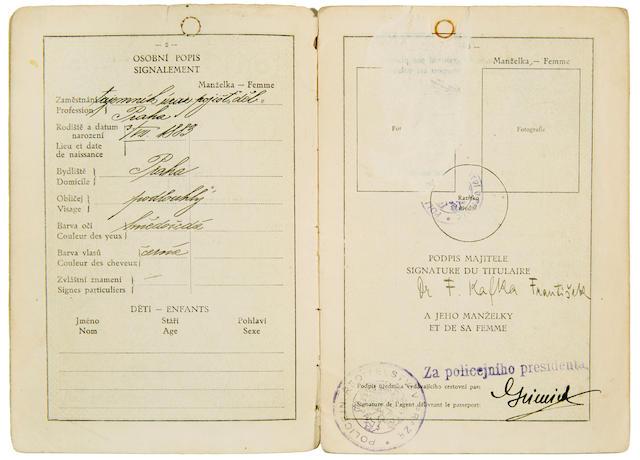 """KAFKA, FRANZ. 1883-1924. Czechoslovak Passport Signed (""""Dr. F. Kafka František""""), [Prague, June 1922]."""