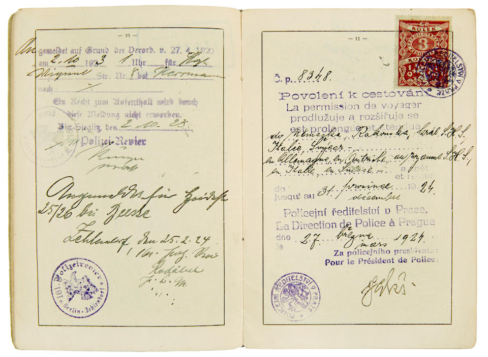 "KAFKA, FRANZ. 1883-1924. Czechoslovak Passport Signed (""Dr. F. Kafka František""), [Prague, June 1922]."
