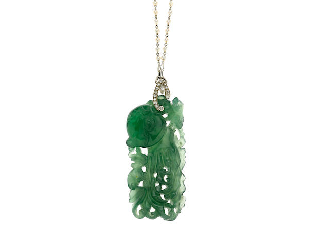 A carved jadeite jade, cultured pearl and diamond pendant-necklace