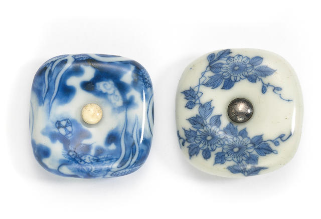 Two Hirado porcelain manju netsuke  Edo period/Meiji era (19th century)