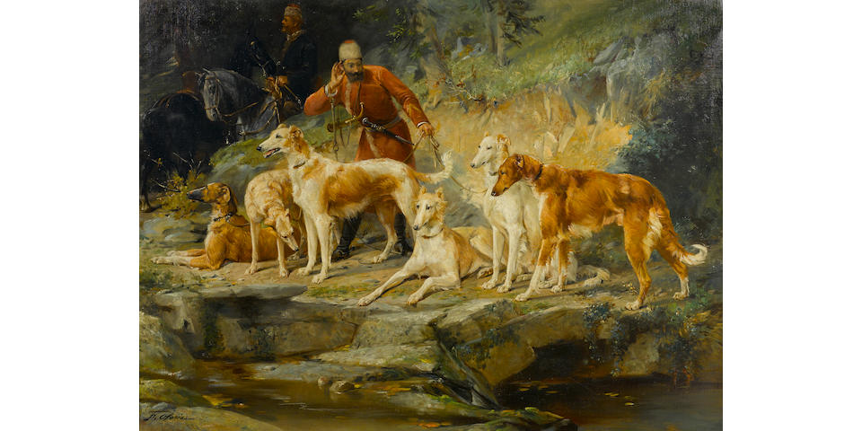 Frederico Olaria (Spanish, 1849-1898) A group of Borzoi with a cossack hunter 47 x 64in (119.3 x 162.5cm)