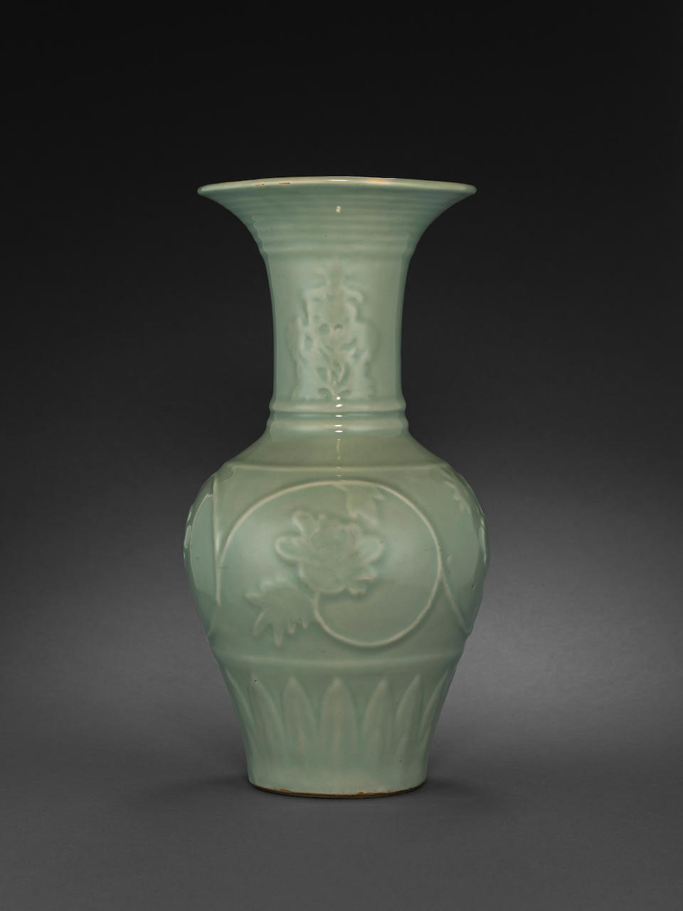 A fine and rare Longquan celadon vase with molded decoration Yuan dynasty
