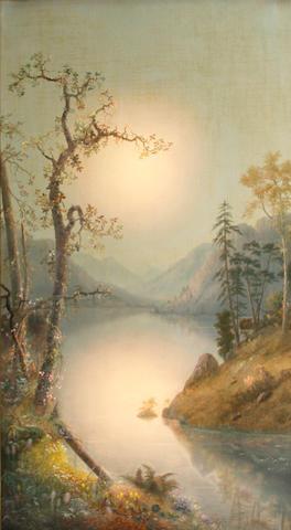 William Samuel Parrott (American, 1843-1915) River at dusk 37 1/4 x 21 1/4in